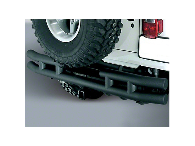 Rugged Ridge Tubular Rear Bumper w/ Hitch - Textured Black (87-06 Jeep Wrangler YJ & TJ)