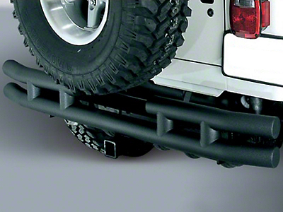 Rugged Ridge Tubular Rear Bumper w/ Hitch - Textured Black (87-06 Wrangler YJ & TJ)