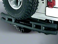 Rugged Ridge 3-Inch Double Tube Rear Bumper with Hitch; Black (87-06 Jeep Wrangler YJ & TJ)