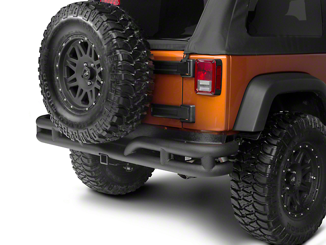 Rugged Ridge Tubular Rear Bumper - Textured Black (07-18 Jeep Wrangler JK)