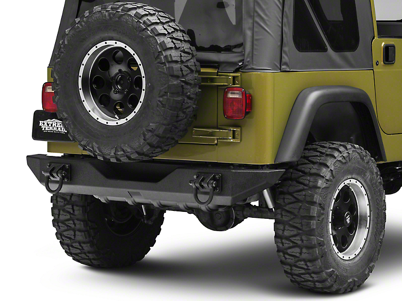 Rugged Ridge XHD Rear Bumper - Textured Black (87-06 Jeep Wrangler YJ & TJ)