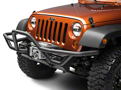 Rugged Ridge RRC Mount for XHD Front Bumper w/ 7 in. Flares - Textured Black (07-18 Jeep Wrangler JK; 2018 Jeep Wrangler JL)
