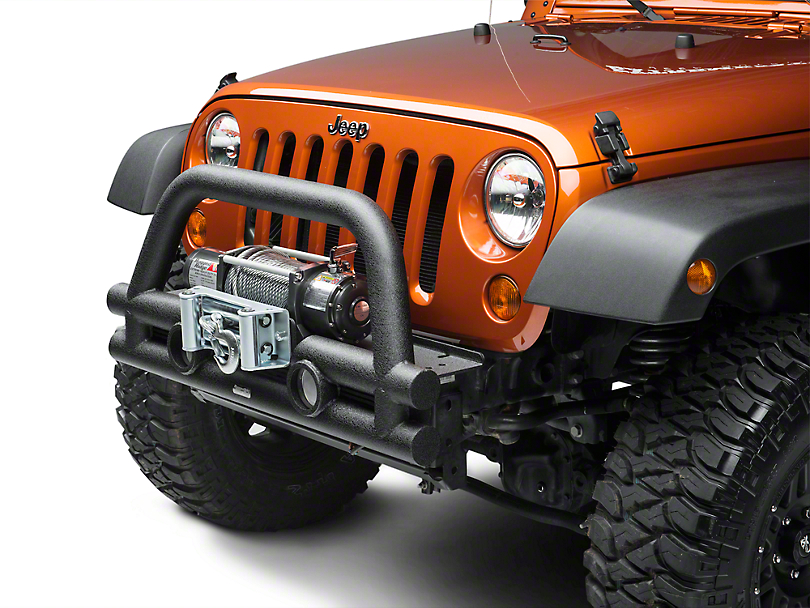 Rugged Ridge Stubby Tube Front Bumper w/ Winch Plate - Textured Black (07-18 Wrangler JK)