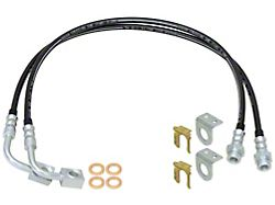 RockJock Front or Rear Braided Brake Hose Kit; 23.50-Inches Long (07-18 Jeep Wrangler JK)