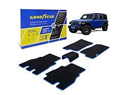 Goodyear Custom Fit Front and Rear Floor Liners; Black/Blue (18-21 Jeep Wrangler JL 4-Door, Excluding 4xe)