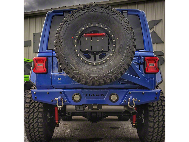 Hauk Off-Road Predator Series Rear Bumper with Tire Carrier; Gloss Ocean Blue (18-21 Jeep Wrangler JL)