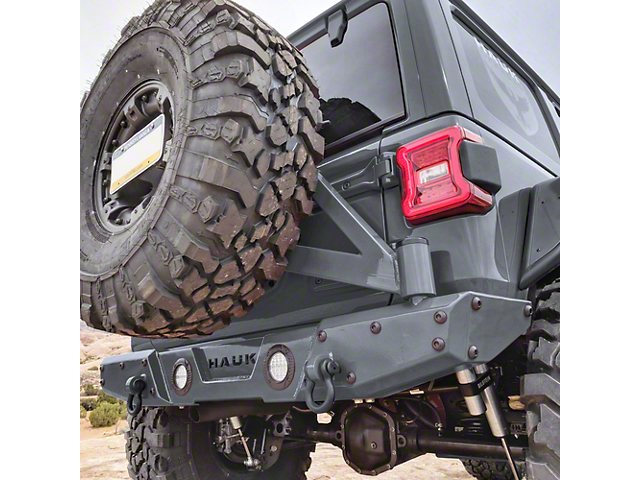 Hauk Off-Road Predator Series Rear Bumper with Tire Carrier; Gloss Sting Gray (18-21 Jeep Wrangler JL)