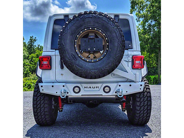 Hauk Off-Road Predator Series Rear Bumper with Tire Carrier; Gloss White (18-21 Jeep Wrangler JL)