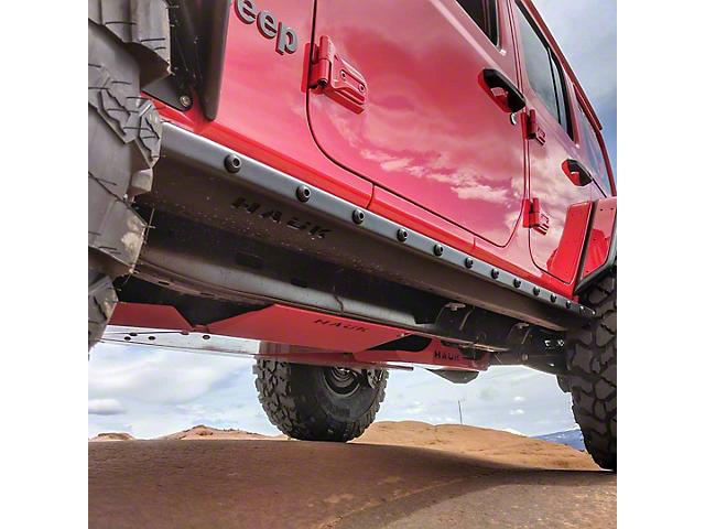 Hauk Off-Road Rock Sliders; Textured Black (18-21 Jeep Wrangler JL 4-Door)