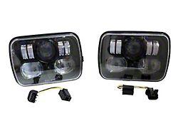 LED Headlights; Black Housing; Clear Lens (87-95 Jeep Wrangler YJ)