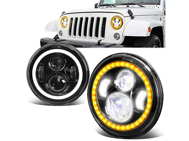 LED DRL Projector Headlights with Turn Signals; Black Housing; Clear Lens (07-18 Jeep Wrangler JK)