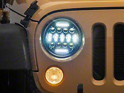 LED DRL Projector Headlights; Black Housing; Clear Lens (07-18 Jeep Wrangler JK)