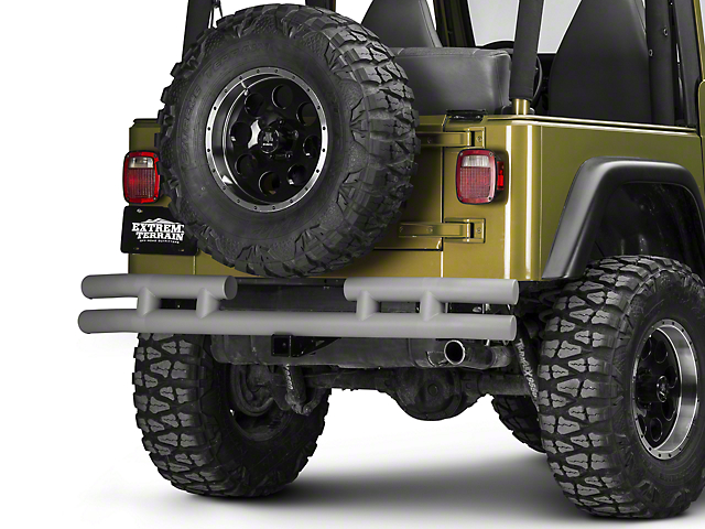 Rugged Ridge Tubular Rear Bumper with Hitch; Titanium (87-06 Jeep Wrangler YJ & TJ)