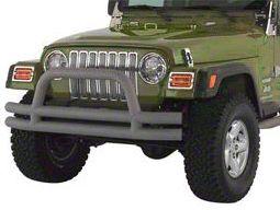 Add Rugged Ridge Tubular Front Bumper w/ Hoop - Titanium (87-06 Wrangler YJ & TJ)