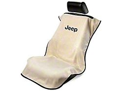 Seat Cover with Jeep Logo; Tan (Universal; Some Adaptation May Be Required)