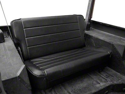 Smittybilt Fold & Tumble Rear Seat Vinyl - Traditional Black (87-95 Jeep Wrangler YJ)