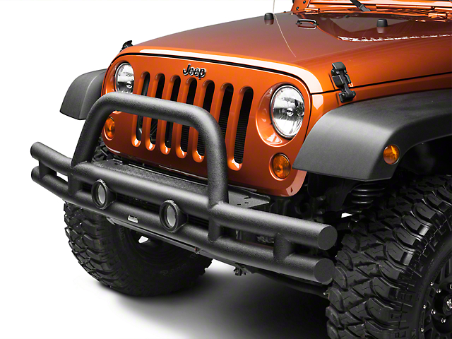Rugged Ridge 3-Inch Double Tube Front Bumper; Black (07-18 Jeep Wrangler JK)
