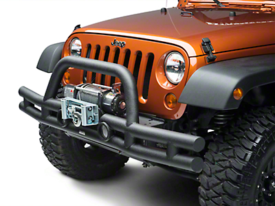 Rugged Ridge Tube Front Bumper w/ Winch Mount - Textured Black (07-18 Jeep Wrangler JK)