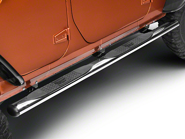 Rugged Ridge 4-1/4 in. Oval Side Step Bars - Stainless Steel (07-18 Jeep Wrangler JK 4 Door)