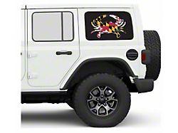 Under the Sun Hard Top Rear Side Window Decals; Maryland Crab (07-21 Jeep Wrangler JK & JL 4-Door)