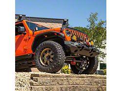 TrailChaser Aluminum Full Width Front Bumper with Fender Flares; Textured Black (18-21 Jeep Wrangler JL)