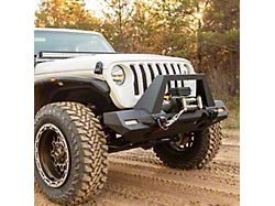 TrailChaser Aluminum Full Width Front Bumper with Angular Brush Guard; Textured Black (18-21 Jeep Wrangler JL)