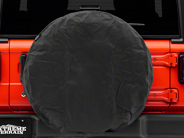 Smittybilt Spare Tire Cover; Black; 33 to 35-Inch Tire Cover (87-21 Jeep Wrangler YJ, TJ, JK & JL)