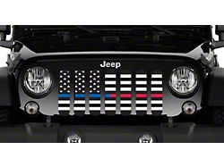 Grille Insert; American Black and White Back the Blue and Red (76-86 Jeep CJ5 & CJ7)