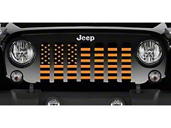 Grille Insert; Black and Orange American Flag (20-22 Jeep Gladiator JT)