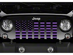 Grille Insert; Black and Purple American Flag (20-22 Jeep Gladiator JT)