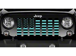 Grille Insert; Black and Teal American Flag (20-22 Jeep Gladiator JT)