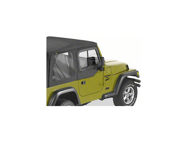 Bestop Upper Door Sliders for Factory Soft Top; Black Denim (97-06 Jeep Wrangler TJ)