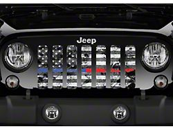 Grille Insert; Dirty Grace Tactical Back the Blue and Red (76-86 Jeep CJ5 & CJ7)