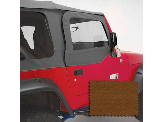 Rugged Ridge Upper Soft Door Kit; Dark Tan (97-06 Jeep Wrangler TJ)