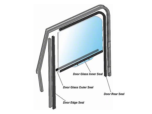 Door Glass Weatherstrip; Left or Right (87-95 Jeep Wrangler YJ)