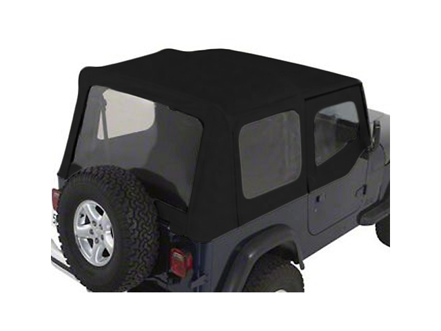 Rugged Ridge XHD Soft Top w/ Clear Windows & Door Skins; Black Denim (88-95 Jeep Wrangler YJ w/ Factory Soft Top)