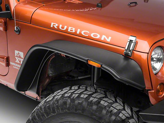 Bushwacker Flat Style Fender Flares; Textured (07-18 Jeep Wrangler JK 4 Door)