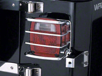 Smittybilt Euro Tail Light Guards - Stainless Steel (87-06 Jeep Wrangler YJ & TJ)