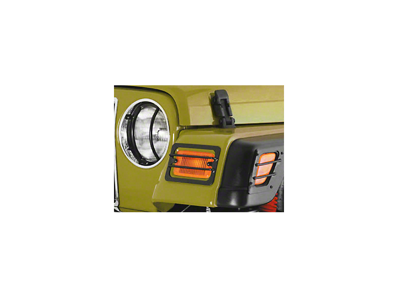 Smittybilt Euro Turn Signal Light Guards; Stainless Steel (97-06 Jeep Wrangler TJ)