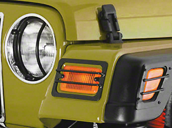 Smittybilt Euro Turn Signal Guards - Stainless Steel - 4 Piece (97-06 Jeep Wrangler TJ)