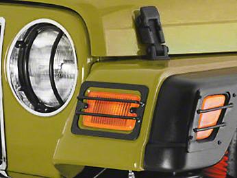 Smittybilt Euro Turn Signal Guards - Stainless Steel - 4 Piece (97-06 Wrangler TJ)