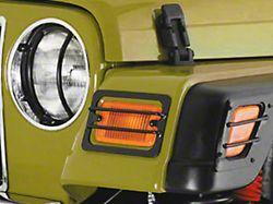 Smittybilt Euro Headlight Guards; Black (97-06 Jeep Wrangler TJ)