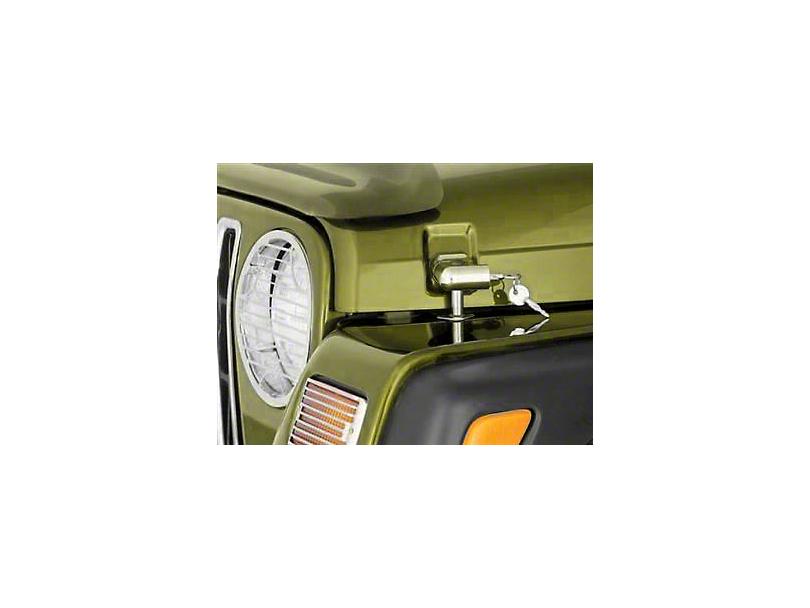 Smittybilt Locking Hood Catch Kit - Chrome (97-06 Jeep Wrangler TJ)