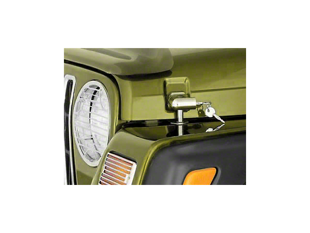 Smittybilt Locking Hood Catch Kit; Chrome (97-06 Jeep Wrangler TJ)