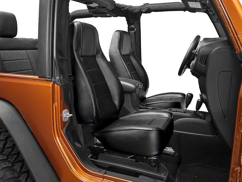 Smittybilt Seat - Front - Factory Style Replacement w/ Recliner - Vinyl Black (87-19 Jeep Wrangler YJ, TJ, JK & JL)