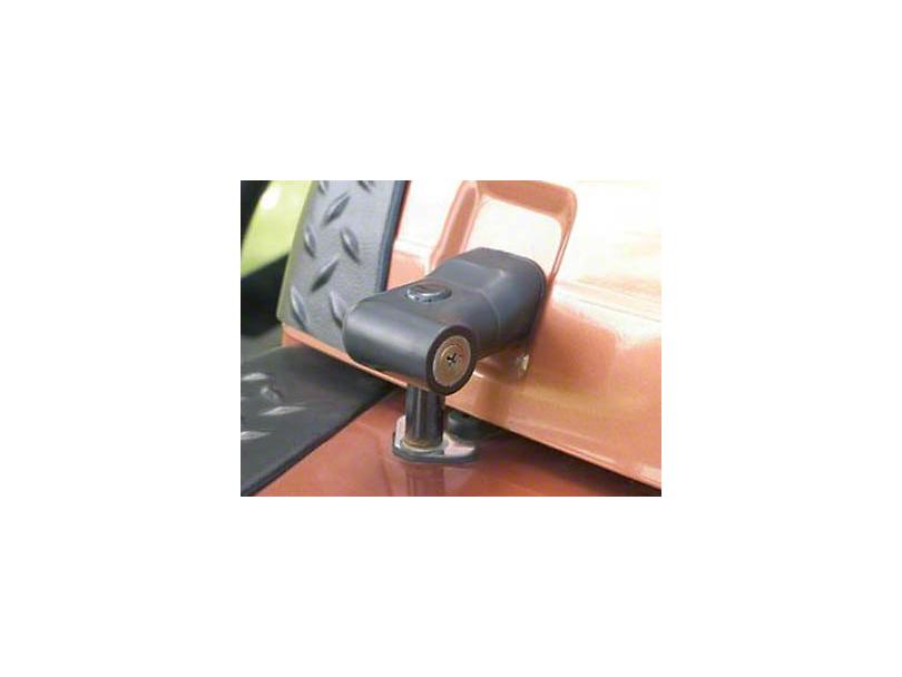 Smittybilt Locking Hood Catch Kit; Black (97-06 Jeep Wrangler TJ)