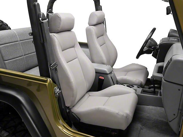 Smittybilt Seat - Front - Contour Sport Bucket w/ Recliner - Gray Denim (87-19 Jeep Wrangler YJ, TJ, JK & JL)