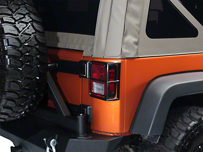 Smittybilt Euro Tail Light Guards - Black (07-18 Wrangler JK)