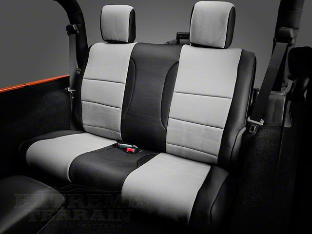 Smittybilt Seat Covers; Rear; Neoprene; Black Sides/ Charcoal Center (07-18 Jeep Wrangler JK 2 Door)
