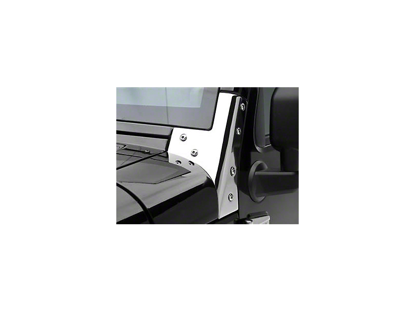 Smittybilt Windshield Brackets - Stainless Steel (07-18 Jeep Wrangler JK)